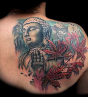 Maple leaves and buddha back tattoo