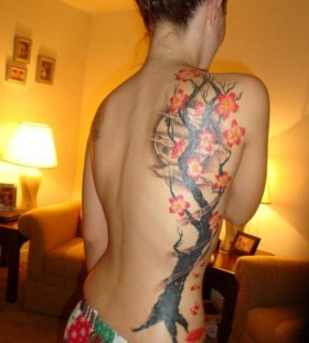 Maple tree back tattoo
