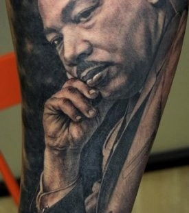 Martin Luther King tattoo by Xavier Garcia Boix