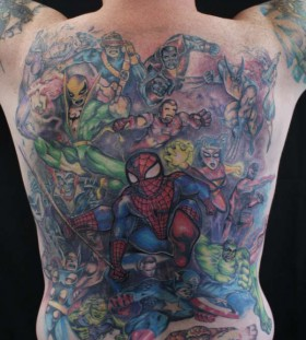 Marvel heroes back tattoo