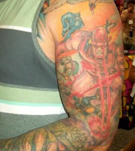 Marvel's superheroes arm tattoo