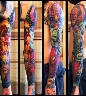Marvel's warriors full arm tattoo