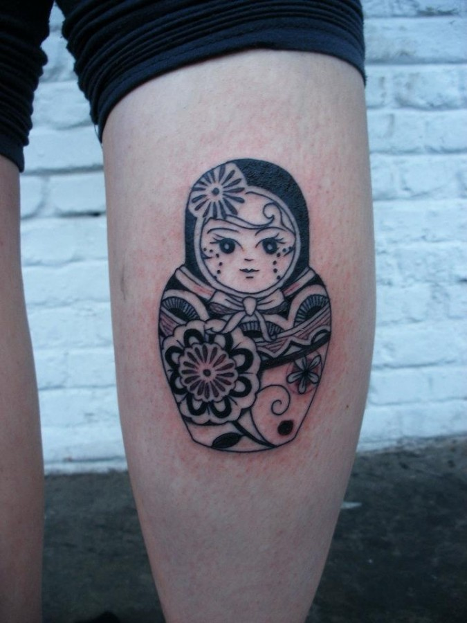 Matryoshka leg tattoo design