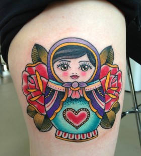 Matryoshka with heart tattoo