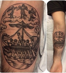 Men in a boat tattoo by Rachel Hauer