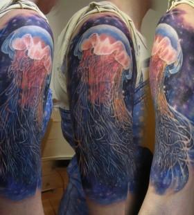 Mgical jellyfish arm tattoo