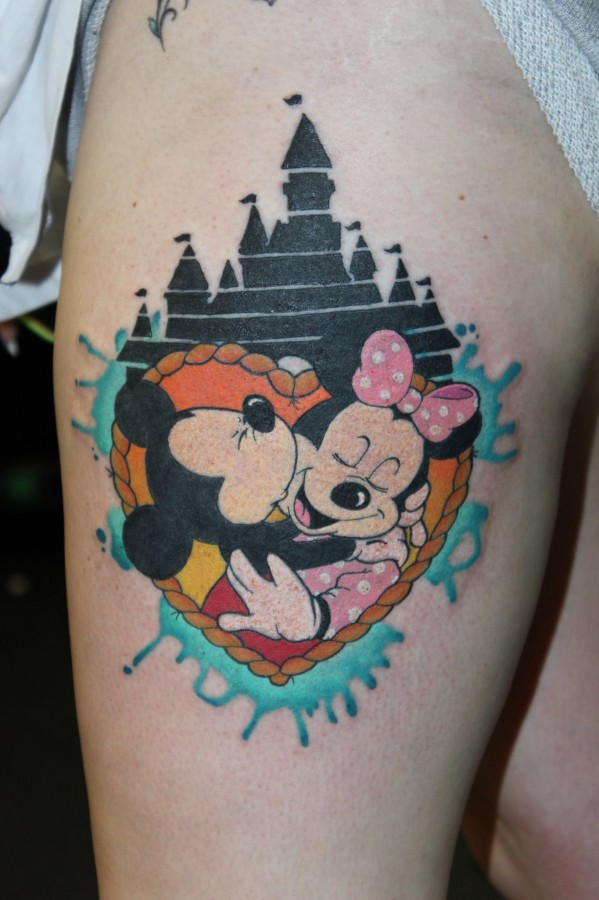 Minnie and Mickey and Disney's castle tattoo