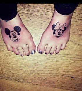 Minnie and Mickey foot tattoos