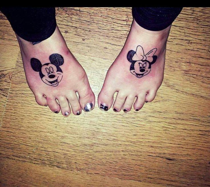 Minnie and Mickey foot tattoos