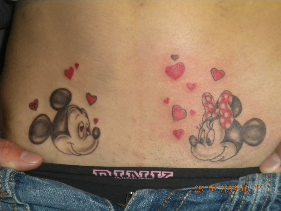 Minnie and Mickey with hearts tattoo