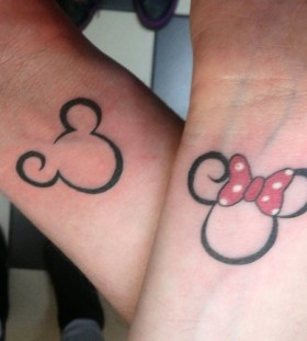 Minnie and Mickey wrist tattoos