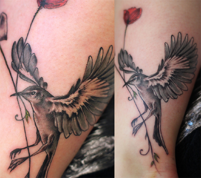 Mockingbird and flower tattoo