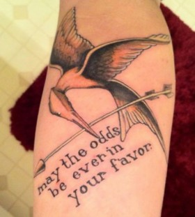 Mockingjay and quote tattoo