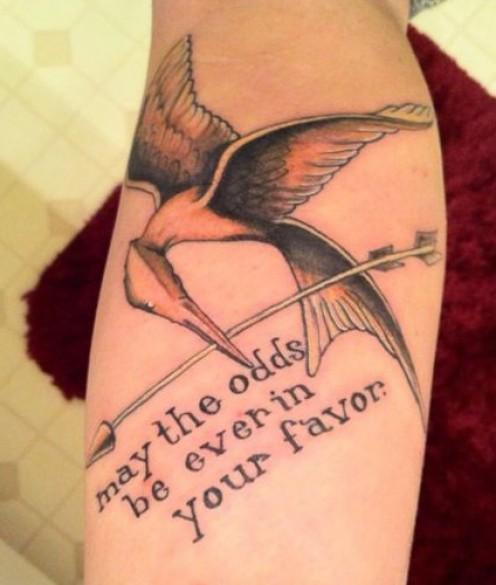 Mockingjay and quote tattoo