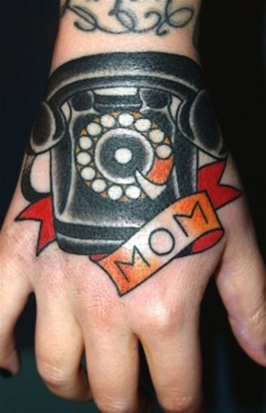 Mom and black telephone tattoo