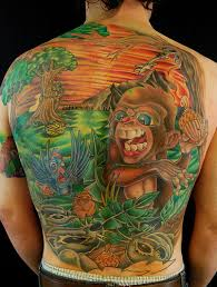 Monkey in the jungle tattoo