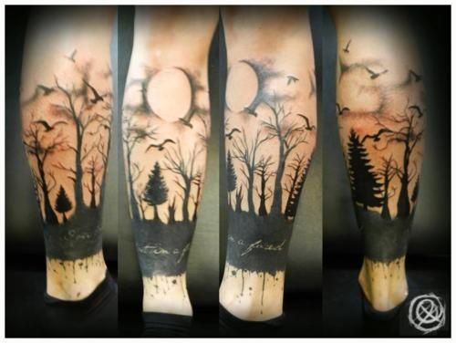 Moon and forests scary tattoo