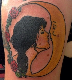 Moon and princess tattoo by lauren winzer
