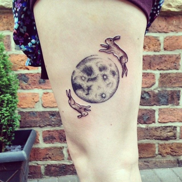 Moon and rabbits tattoo by Rebecca Vincent