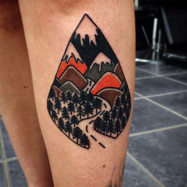 Mountains tattoo by Matt Cooley