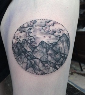 Mountains tattoo by Rachel Hauer