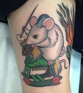 Mouse on a horse tattoo by Dan Molloy