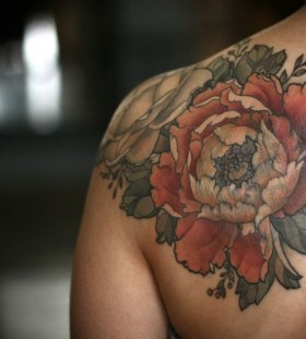 NIce flower back tattoo by Alice Kendall