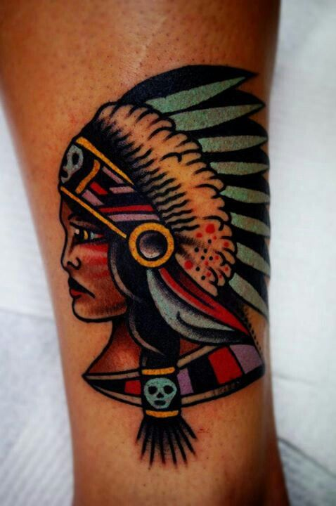 Native American woman tattoo by Charley Gerardin