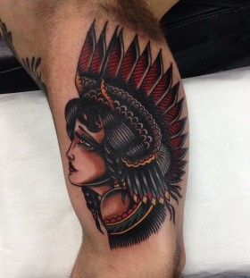 Native american woman tattoo by James McKenna