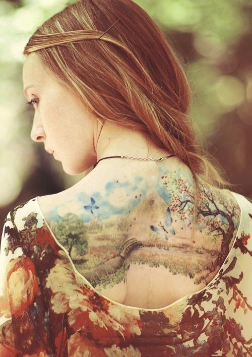 Nature picture lovely watercolor tattoo