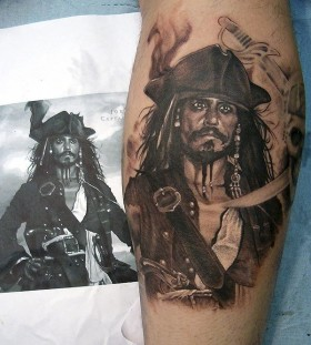 Nice Jack Sparrow tattoo by Xavier Garcia Boix