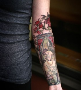 Nice arm tattoo by Alice Kendall
