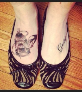 Nice birdcage foot tattoo
