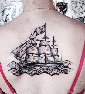 Nice boat back tattoo