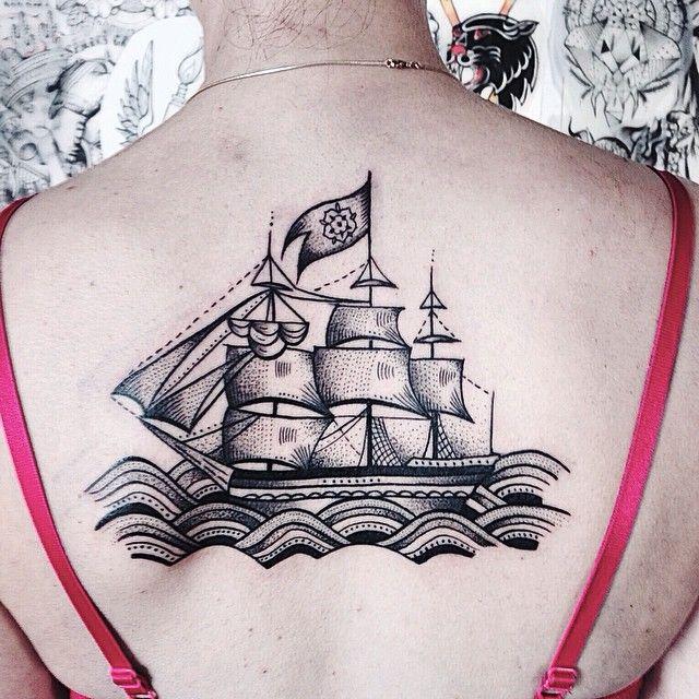 Nice boat back tattoo