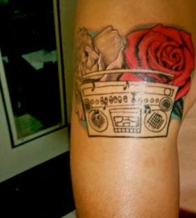 Nice boombox and rose tattoo