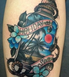 Nice bottle tattoo by Amanda Leadman