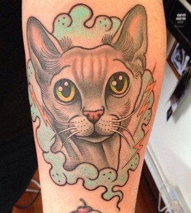 Nice cat tattoo by Clare Hampshire
