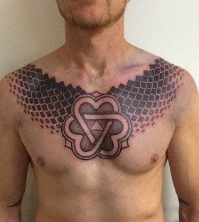 Nice chest tattoo by Gerhard Wiesbeck