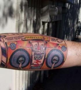 Nice coloured boombox tattoo
