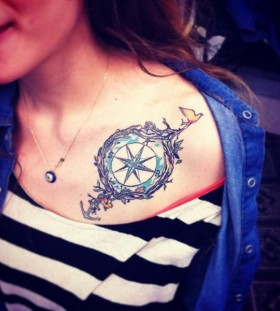 Nice compass and anchor tattoo