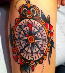 Nice compass tattoo by Nick Oaks