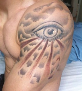 Nice eye and clouds tattoo