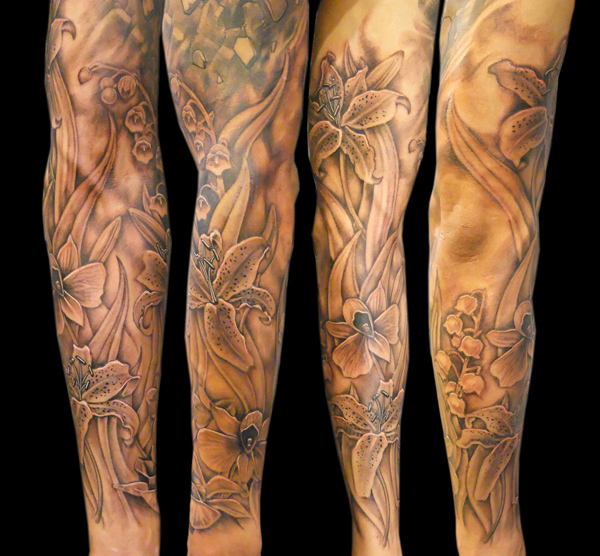 Nice flowers full arm tattoo