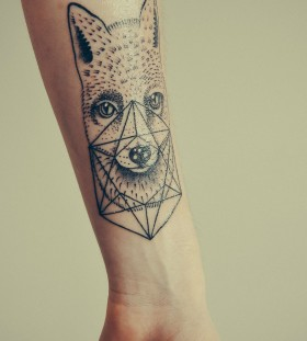 Nice geometric fox tattoo
