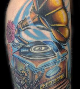 Nice gramophone and flower tattoo
