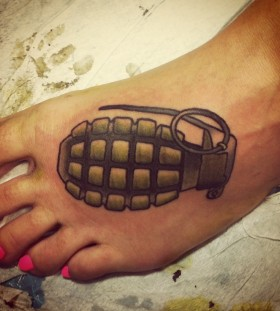 Nice grenade foot tattoo