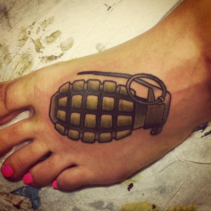 Nice grenade foot tattoo