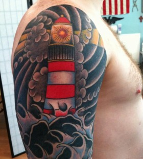 Nice lighthouse arm tattoo
