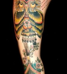 Nice owl tattoo by Matt Cooley